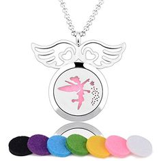 Eudora Aroma Love Wing Fairy Essential Oil Perfume Diffuser Locket Necklace, 6 Color Pads, 24'' ** Continue @