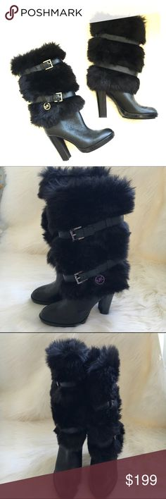 Michael Kors faux fur leather boots Carly boot in nylon Faux fur and leather with silver tone hardware. 4 inch heel. Worn once. trades Authentic. firm price Michael Kors Shoes Heeled Boots
