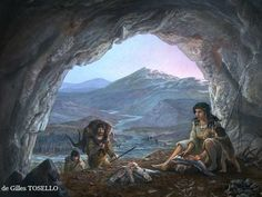 Daily activities of Magdalenian people in the rock shelter of Mill Troubat some 12,000 years BCE by Gilles Tosello