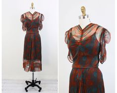 vintage 1930s dress // 30s Teal, Brown, and Orange Feather Print Chiffon Dress
