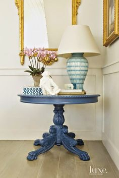 i love this blue table for the entry hall