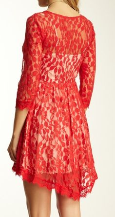 Red floral lace