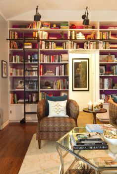 Plum bookcase with library ladder. #interiordesign #bookshelves