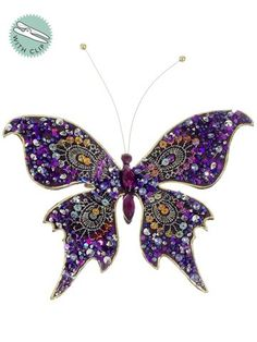 """Amazon.com - 7"""" Rich Purple Glittered and Jeweled Sequin Butterfly Clip On Christmas Ornament -"""