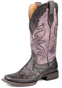 Roper Womens Handtooled Wingtip Western Cowboy Boots - Antique Violet $449.00