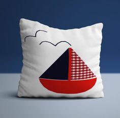 X sailing boat cushion, handmade and stitched onto a white backing. A nautical themed cushion. Nautical Baby Bedding, Nursery Bedding, Sailor Theme, Baby Boy Nurseries, Nautical Theme, Sailing Boat, Duvet, Handmade Items, Cushions