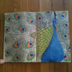 altered art book: peacock page