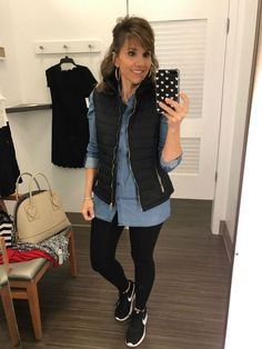 Athleisure look from Cyndi Spivey. I would never think to pair a button down shirt (chambray shirt here) with athletic pants, but it works.
