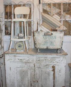 Chippy White Primitive cabinet & vintage display - Ms. Mac's Carver, MN