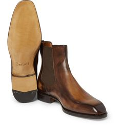 <a href='http://www.mrporter.com/mens/Designers/Berluti'>Berluti</a>'s Chelsea boots are made from smooth hand-polished Venezia leather - the beautiful patina is a house signature. This tapered-toe design has elasticated side gussets and smooth leather linings that provide an incredibly comfortable fit. Try yours with trim trousers or neat selvedge denim.