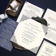 Gorgeous scalloped edges for this elegant opera house wedding! A little dusty blue goes a long way #fourteenforty #1440nyc #custom #bespoke #invitations #somethingblue