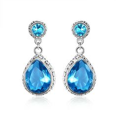 Holiday Jewelry Flower Blue Fire Topaz Gemstone Silver Dangle Crochet Boucles D/'oreilles