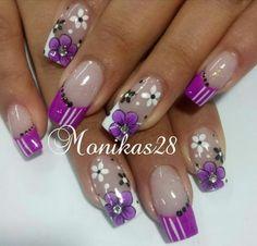 Purple Nail Designs, Cool Nail Designs, May Nails, Hair And Nails, Purple Nails, Glitter Nails, Chevron Nails, Fire Nails, Pedicures