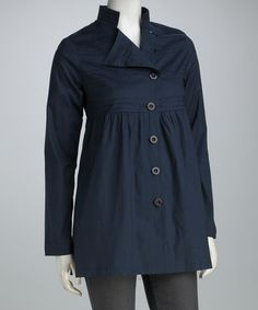 Take a look at this Navy Cassy Coat by AOYAMA ITCHOME on #zulily today!
