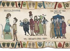 """In celebration of the anniversary of Doctor Who, Bill Mudron has created a """"slightly ridiculous"""" tribute to the Bayeux Tapestry that shows the entire Dr Who, Art Doctor Who, Ninth Doctor, History Books, Art History, Loki, Science Fiction, Serie Doctor, Bayeux Tapestry"""