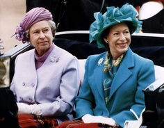 Queen Elizabeth II and her sister Princess Margaret arrive at horseguards parade, 27 May 1993 in London.