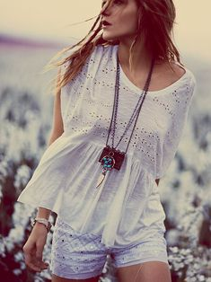 Free People Sweetart Boxy Tee, $88.00 Love all three colors and the shorts that are with the white shirt