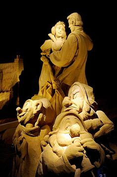 A Snow White sand sculpture at the International Sand Sculpture Festival in Blankenberge, Belgium.
