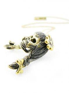 Virgo Virgin 's Skull Pendant in Brass | Guruwan.com