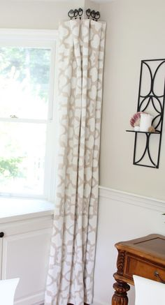 Shine Your Light: Stenciled Drop Cloth Curtain Tutorial. Into-the-corner window treatment design. Alternative way to hand drapery and eliminate a rod. Luxury Curtains, Yellow Curtains, Gold Curtains, Ikea Curtains, Drop Cloth Curtains, Burlap Curtains, Curtains Living, Patterned Curtains, Nursery Curtains