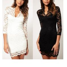 Women's Cocktail Dresses with Sleeves | Home » Women's Black White Lace Sexy V Neck Slim 3/4 Sleeve Cocktail ...
