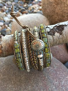 Debra Levens Jewelry Design Spring green with silver five wrap leather bracelet