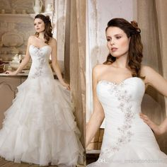 Wholesale 2014 New Style Cheap Wedding Dresses Sweetheart Neckline Lace Appliques Beaded Ruffle Organza Court Train Bridal Dresses dhyz 04, Free shipping, $219.0/Piece | DHgate Mobile