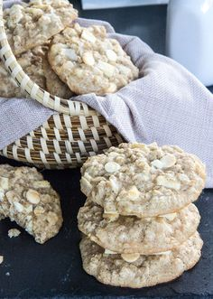 Coconut Oatmeal Cookies with Macademia Nuts and White Chocolate Chunks