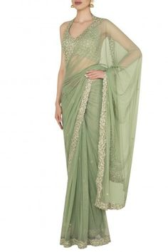 Pleats by Kaksha & Dimple presents Seaglass green sequin sari set in raw slik and shimmer net available only at Pernia's Pop Up Shop. Pakistani Fashion Party Wear, Pakistani Dresses Casual, Indian Fashion Dresses, Indian Outfits, Saree Fashion, Saree Blouse Patterns, Saree Blouse Designs, Saree Designs Party Wear, Sarees For Girls