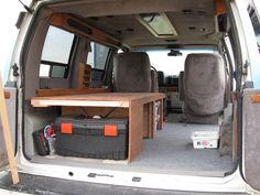 custom bed and storage in a van Bike Cargo Trailer, Cargo Trailers, Cargo Van Conversion, Camper Conversion, Truck Camping, Van Camping, Camping Activities For Kids, Camping Ideas, Caravan Van