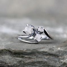 Hey, I found this really awesome Etsy listing at https://www.etsy.com/uk/listing/229072299/raw-diamond-trio-ring-uncut-rough