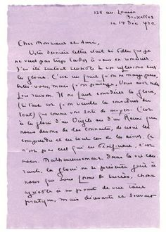 Marguerite Yourcenar  Lettre à Jean Royère, Bruxelles 14 décembre 1930.