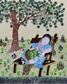 Uyuyan Güzel ( Katı', kâğıt oyma)-Dürdane Ünver Paper Cutting, Miniature, Paper Crafts, Kids Rugs, Painting, Hat, Decor, Chip Hat, Decoration