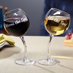 For a night of fun and laughs, it's always good to say to your guests,  Let's get tipsy!  These funny wine glasses are the perfect way to set the table for a night with friends. This set of two funny wine glasses are emblazoned with a timeless social exchange   Wanna get tipsy?  and  Let's get tipsy!  With stems that lean to the side to create the effect of tipsy wine glasses, they are perfectly balanced so you don't have to worry about them toppling over on their own. Great for funny…
