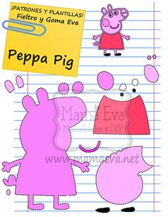 peppa in felt Pig Crafts, Felt Crafts, Finger Puppet Patterns, Character Template, Accessoires Barbie, Felt Animal Patterns, Felt Quiet Books, Pig Party, Pig Birthday
