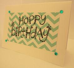 Handmade birthday card, craft, blue, rhinestones, chevron, fun, cute