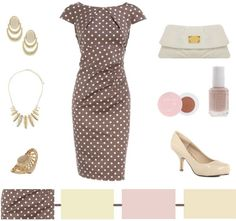 sweet retro look  #style #clutch #fashion #nude #dress #retro #polka_dot #summer