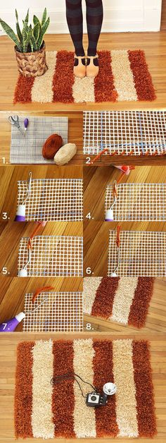 Simple and beautiful carpet DIY & Crafts Tutorials: Simple and beautiful carpet DIY & Crafts Tutorials: Diy Carpet, Rugs On Carpet, Cheap Carpet, Hall Carpet, Carpet Decor, Diy Tapis, Sewing Projects, Diy Projects, Sewing Tips