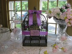 Vintage Style Large Bird Cage Wedding Card by SouthburyTreasures, $58.00