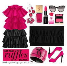 """""""Keep it Simple #4: What a Frill: Hot Pink and Black Ruffles!"""" by curekitty ❤ liked on Polyvore featuring Ippolita, STELLA McCARTNEY, Kevyn Aucoin, Smashbox, Yves Saint Laurent, Johnny Loves Rosie, Reiss, Christian Louboutin, Michel Germain and vintage"""