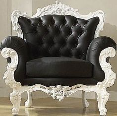 Black and white victorian chair I want it!!  I don't know where i would put it but I want it.