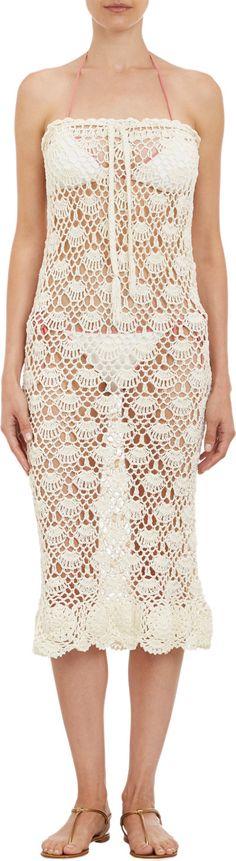 """Natalie Martin Crochet """"Ness"""" Long Skirt at Barneys.com Crochet Beach Dress, Knit Dress, Crochet Dresses, The Dress, Dress Skirt, Natalie Martin, Crop Top Bikini, Crochet Clothes, Dress Collection"""
