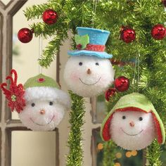 Snowman ornaments with sweet faces Christmas Ornaments To Make, Snowman Ornaments, Homemade Christmas, Christmas Snowman, Christmas Projects, All Things Christmas, Winter Christmas, Holiday Crafts, Christmas Holidays