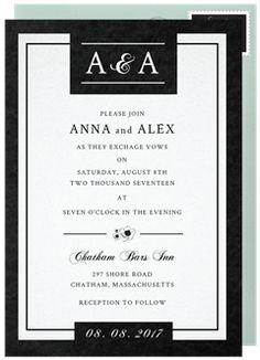 Black and White Invitation in Black