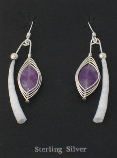 Dentalium Shell & Amethyst Earrings Native by CandDDesigns on Etsy