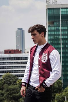 Letterman Jacket Patches, Varsity Jacket Outfit, Varsity Letterman Jackets, Vest Jacket, Bomber Jacket, Poses For Men, Mens Clothing Styles, Unisex, Personal Style