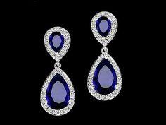 Sapphire teardrop earrings bridesmaid earrings cubic