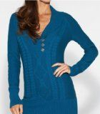 G by GUESS Women's Lorelei Tunic Sweater 100-percent-cotton Shawl collar. Long sleeves. Knit construction with cabled detail at front. Ribbed trim at collar, cuffs and hem. Logo button closures at neckline 100% Cotton Hand wash