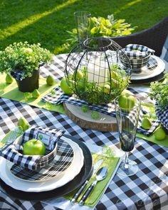 green and buffalo check made for a striking tablescape for our al fresco d. Apple green and buffalo check made for a striking tablescape for our al fresco d. - -Apple green and buffalo check made for a striking tablescape for our al fresco d. Decoration Table, Table Centerpieces, Easter Centerpiece, Centrepieces, Easter Decor, Table Halloween, Dinner Show, Al Fresco Dinner, Beautiful Table Settings