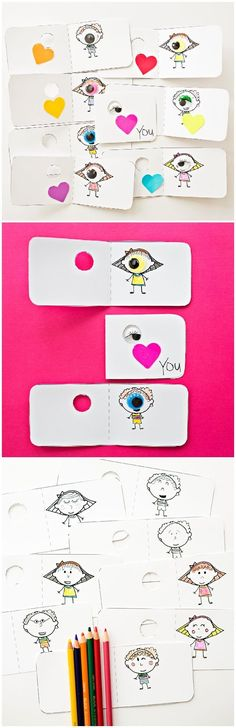 Eye Love You Coloring Valentine Cards with Free Printable. Cute non-candy Valentines for kids! #valentinesday #valentinesdaycrafts